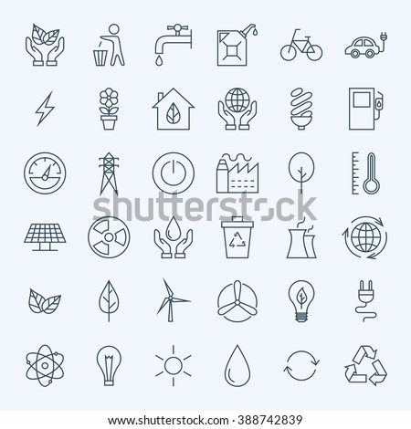 Line Green Energy Eco Icons Set. Vector Set of Modern Thin Outline Icons for Ecology and Nature Environment Items.