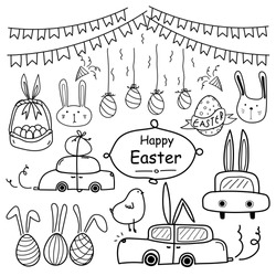 Line Hand Drawn Doodle Happy Easter Day Vector Set. Doodle Funny Set. Handmade Vector Illustration.