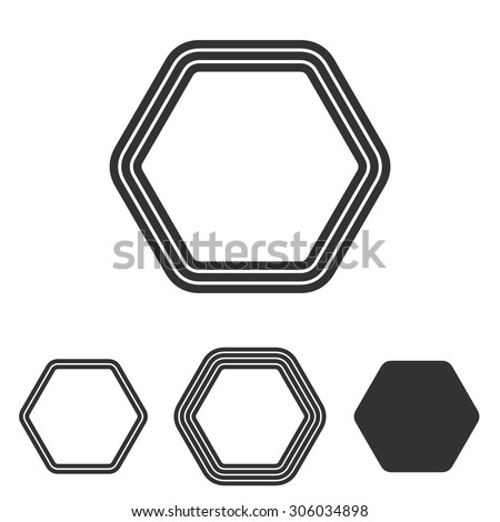 Line hexagon logo design set