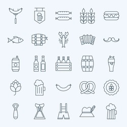 Line Holiday Oktoberfest and Beer Icons Bundle. Vector Set of 25 October Holiday Modern Line Icons for Web and Mobile. Beer and Alcohol Icons Collection