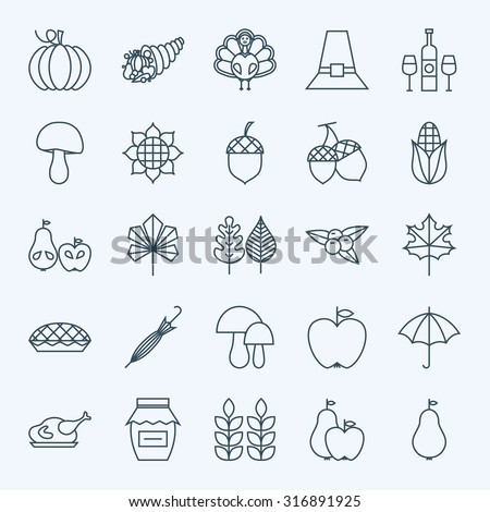 Line Holiday Thanksgiving Day Icons Set. Vector Set of 25 Autumn Seasonal Holiday Modern Line Icons for Web and Mobile. Thanksgiving Dinner Food Icons Collection