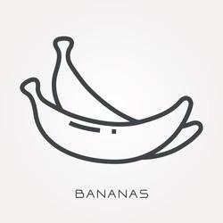 Line icon bananas