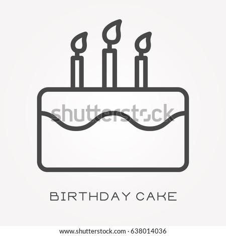 line icon birthday cake
