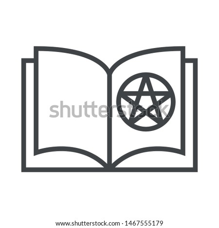 Line icon book with pentagram. Simple vector illustration with ability to change.