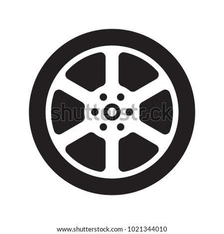 Line icon car wheel isolated on white background. Vector illustration. #1021344010