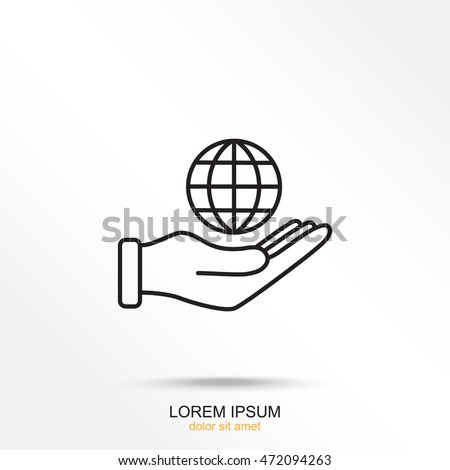 line icon  globe and hand