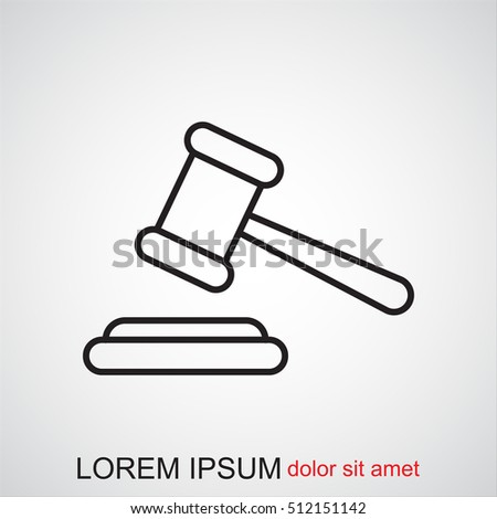Line icon-  judge gavel