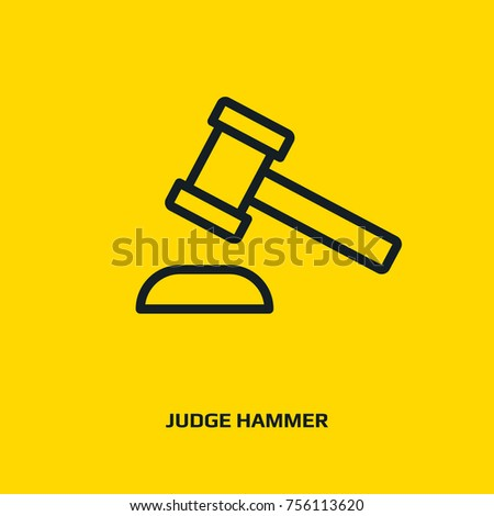 Line icon judge gavel. Auction hammer icon. Justice court, law sign. Appeal, jury symbol