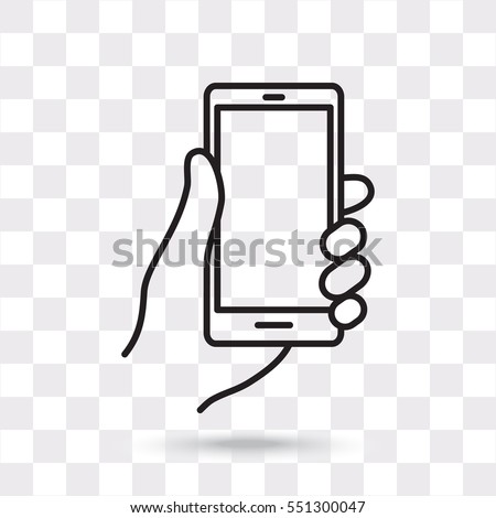 Line icon- Mobile phone in hand