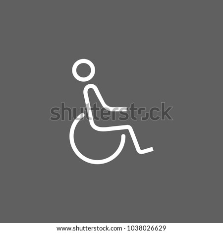 Line icon of disabled man sign. Disabled person parking sign, restroom sign, seat for disabled. Disabled people concept. Can be used for web pictograms, design and application icons