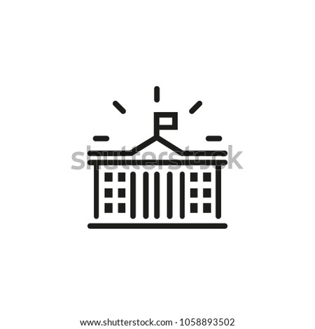 Line icon of government building. Courthouse, university, museum. Court concept. Can be used for topics like legislation, architecture, government