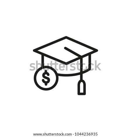 Line icon of mortarboard and dollar sign. Scholarship, sponsored education, investment in education. Graduation concept. Can be used for topics like education, business, finance