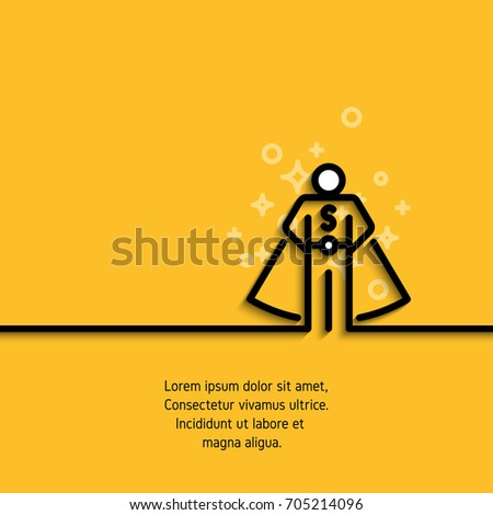 Line icon of online consultant. Personal assistant, person who can help concept banner. Vector illustration on yellow background. Contour graphic image