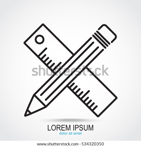 Line icon- Pencil and ruler