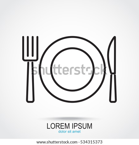 Line icon- plate, knife and fork
