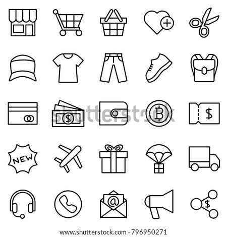 Line icon set for clothing e-commerce website. Contain purchase method, item category, payment method, shipment method, marketing program and communication method. Editable stroke, vector isolated