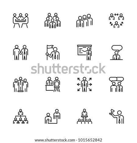 Line icon set of office activity for business people. Editable stroke vector, isolated at white background