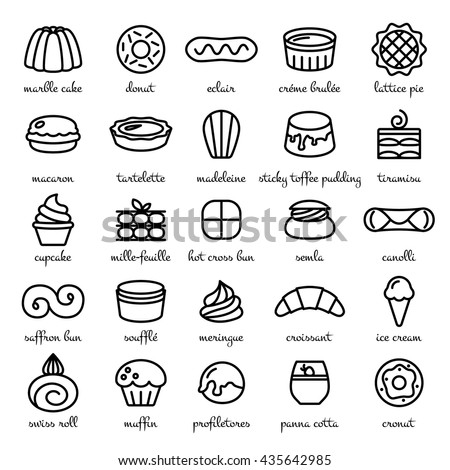 line icon set of world best desserts and sweets