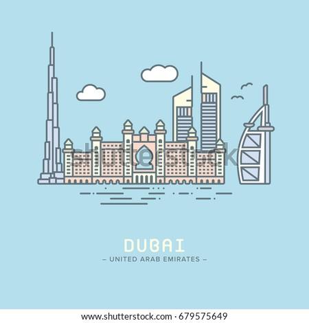 Line Icon style Dubai city landmarks  flat vector illustration