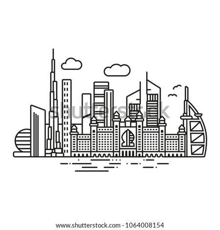 Line Icon style Dubai cityscape vector illustration