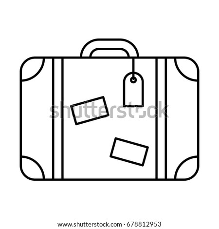 Line icon suitcase, isolated on white