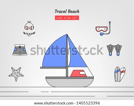 line icon symbol set, travel sea and beach concept, boat, bikini, norkel, starfish, shorts, scuba diving, surfboard, Isolated flat outline vector design Stok fotoğraf ©