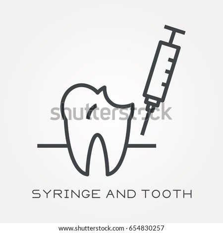 line icon syringe and tooth
