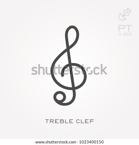 Line icon treble clef