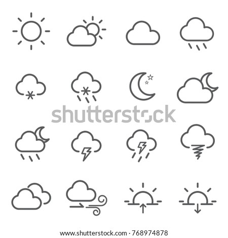 Line icon weather editable stroke. vector illustration.