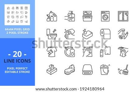 Line icons about clean and disinfect. Contains such icons as hygiene, washing, cleaning products, laundry and housework. Editable stroke. Vector - 64 pixel perfect grid