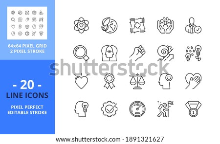 Line icons about core values. Contains such icons as social and evironment responsibility, transparency, empowerment and efficiency. Editable stroke. Vector - 64 pixel perfect grid.