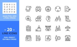 Line icons about hiring process. Contains such icons as businessman, human resources, recruitment, head hunting, career, vacant, candidates and job. Editable stroke. Vector - 64 pixel perfect grid.