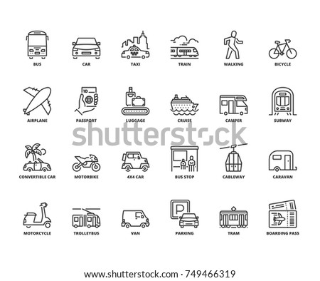 Line icons about transport. Editable stroke. 64x64 pixel perfect.