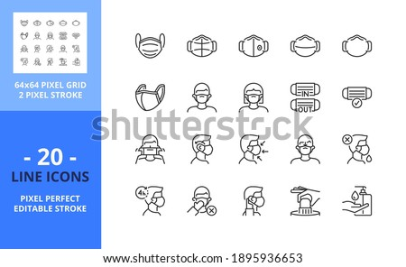 Line icons about wear a face mask. Health care. Contains such icons as 2019-nCoV prevention, surgical mask, N95 and sanitizer. Editable stroke. Vector - 64 pixel perfect grid.