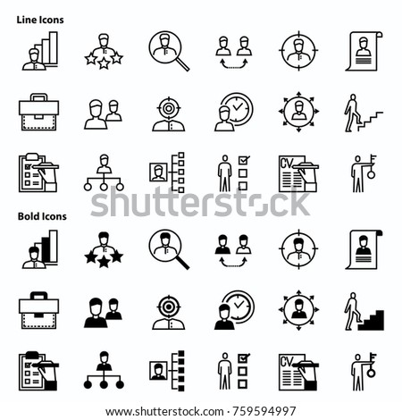 Line icons and Bold icons. Have icon as Job,Work,Team,Career,Manager,Workforce and more. 64x64 Pixel Perfect icons set.
