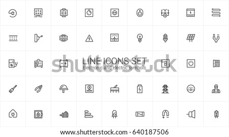 Line icons electronic and electric symbols