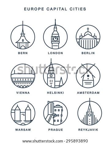 line icons europe capital