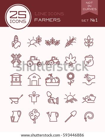 line icons farmers set 1