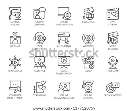 Line icons of webinars, online education. web conferences, remote video meetings. Modern Internet technologies and communications label series. Global network concept set. Vector illustration isolated Stok fotoğraf ©