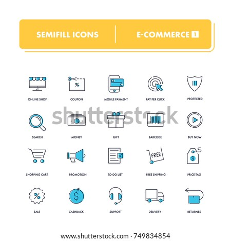Line icons set. E-commerce 1 collection. Vector illustration for internet and online work