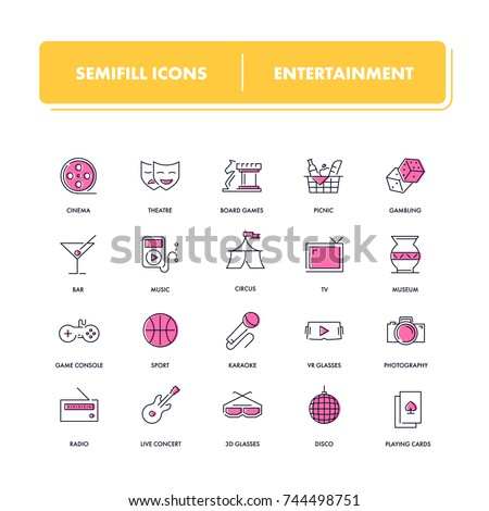 Line icons set. Entertainment pack. Vector illustration for leisure.