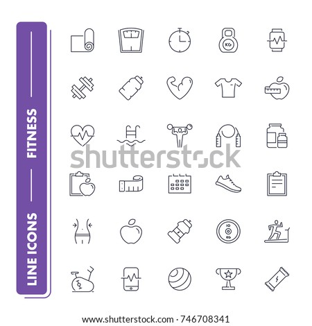 Line icons set. Fitness pack. Vector illustration for activity life and gym, health care and sport.