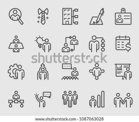 Line icons set for Human resource, Management, New staff, Business