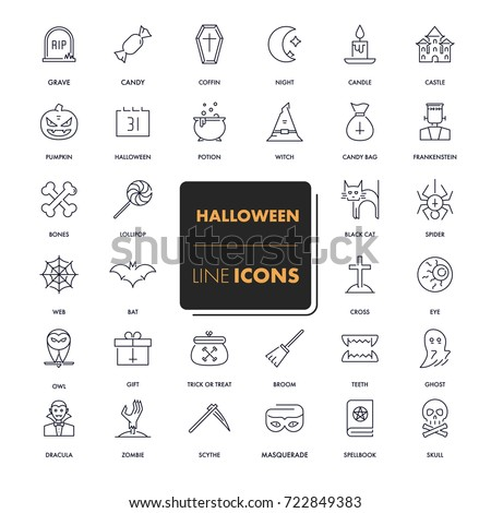 Line icons set. Halloween pack. Vector illustration. #722849383