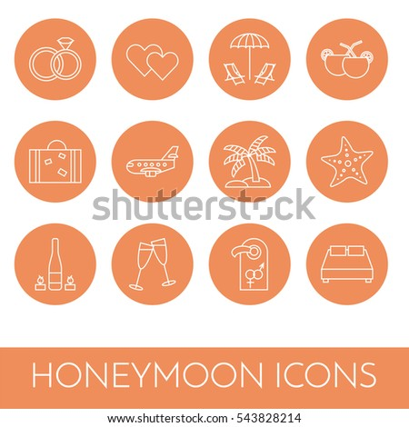 Line icons set honeymoon and romantic date theme. Elements of love for greeting card in vector illustration. Stock fotó ©