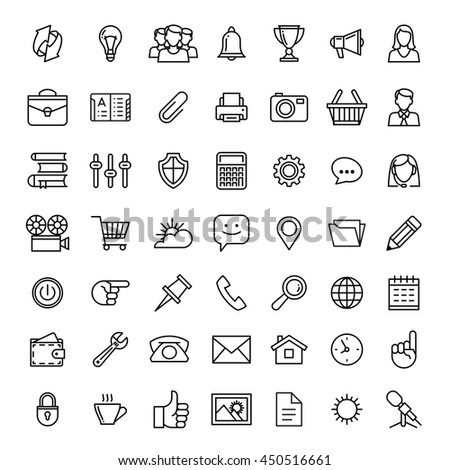 line icons set isolated illustration. Icons for business, management, finance, strategy, planning, analytics, banking, communication, social network, affiliate marketing.