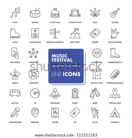 Line icons set. Music festival pack. Vector illustration.