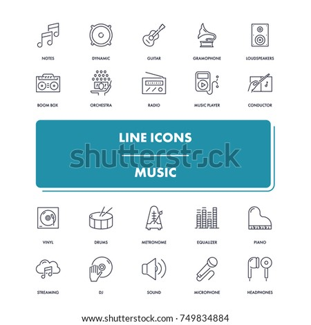 Line icons set. Music pack. Vector illustration with musical instruments, tools and devices