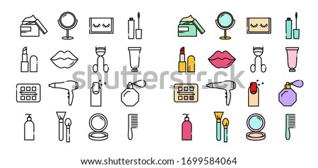 Line icons set of beauty and cosmetics icons. Included icons in the form of cream, mirrors, eyelashes, mascaras, lipsticks, lips, eyeshadow, hair dryer, manicure, perfume, lotion, brushes, powder.