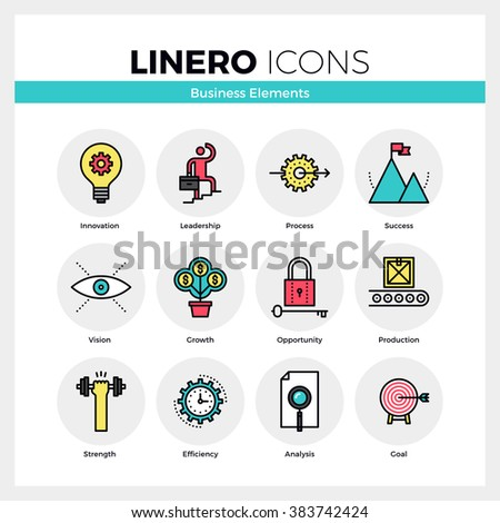 Line icons set of business growth and opportunity vision. Modern color flat design linear pictogram collection. Outline vector concept of mono stroke symbol pack. Premium quality web graphics material